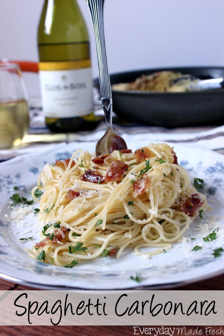 Msg 4 21+ Spaghetti Carbonara is a fancy sounding pasta dish that is simple to prepare. Ready in less than 25 minutes, and requires literally a handful of fresh ingredients. #thetalkofthetable #ad   http://EverydayMadeFresh.com http://www.everydaymadefresh.com/spaghetti-carbonara/