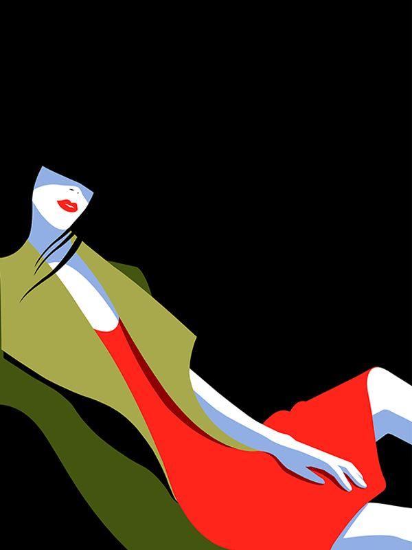 Illustration by #Mathilde © 2017  www.traffic-nyc.com  #redlipstick #reddress #greencoat #silhuetteillustration #silhuette #fashion #fashionillustration