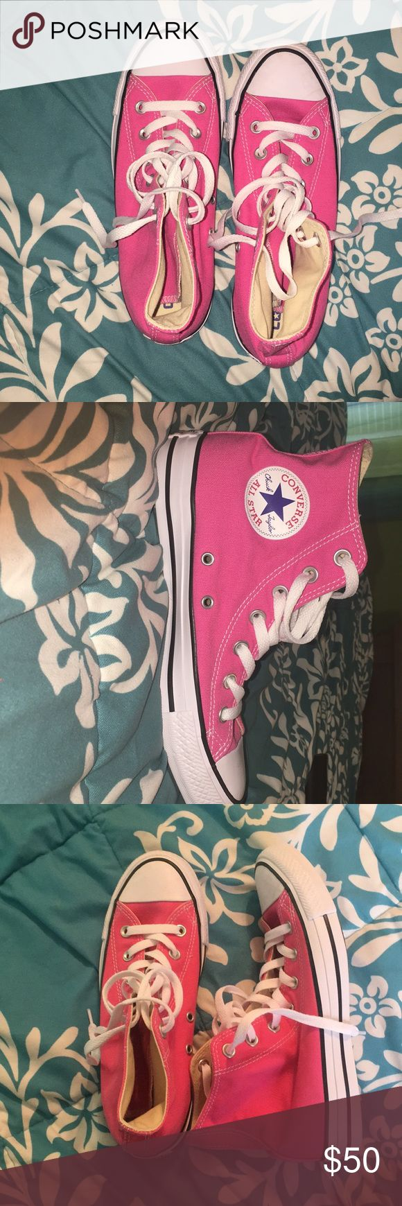 Brand New Pink High Top Converse Brand New, No Box Converse Shoes Sneakers