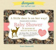 camo themed baby shower ideas | little deer pink camo camouflage baby girl shower invitation printable ...