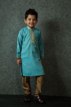 Silk kurta churidar embroidered with stitched work from #Benzer #Benzerworld #kidswear #kurtas #WeddingDressesForKids