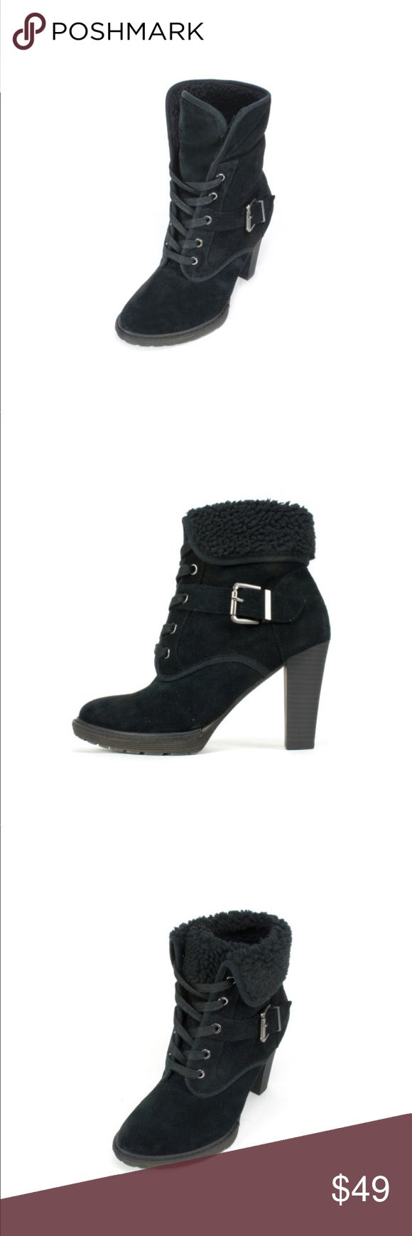 White Mountain Weather Smart Airborne Bootie US 10 THIS HEELED BOOTIE, CRAFTED FROM GENUINE LUXE LEATHER THAT HAS BEEN TREATED WITH 3M SCOTCHGARD PROTECTOR MAKING IT FULLY WATER RESISTANT. FAUX SHEARLING CUFF THAT CAN BE FOLDED UP OR DOWN A HIDDEN PLATFORM KEEPS YOUR FEEL COMFORTABLE AND SUPPORTED WHILST PROVIDING ALL THE HEIGHT YOU NEED. These leg slimming ankle boots are a great way to do heels in the winter months.   HEEL HEIGHT: 3.75 INCHES SHAFT HEIGHT: ROLLED 4.75 INCHES UNROLLED 6.25…