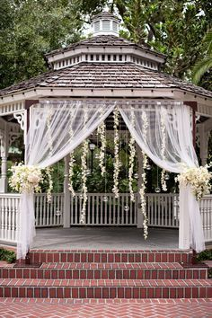 how to decorate a gazebo with linens for a wedding - Google Search