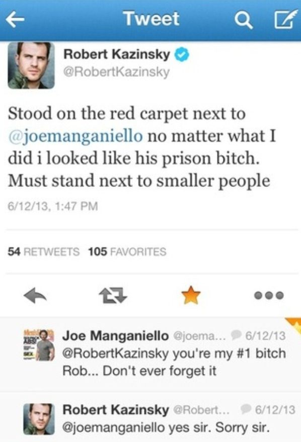 Twitter convo between rob kazinsky and joe manganiello - true blood - hahaha