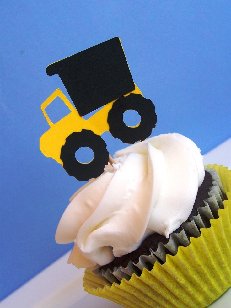 Dump Truck Party - Set of 12 Big Dump Truck Cupcake Toppers by The Birthday House