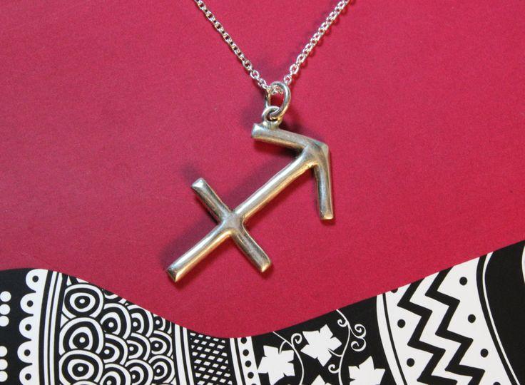 BLACKFRIDAY zodiac jewelry Sagittarius jewelry horoscope sign symbol necklace handmade sterling silver unique creation modern design fine je - $37.40 USD