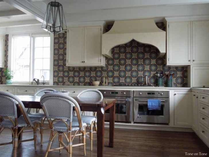 Kitchen. L Shape Kitchen Decoration Using Dark Brown Blue Patterned Moroccan  Tiles Kitchen Backsplash Including