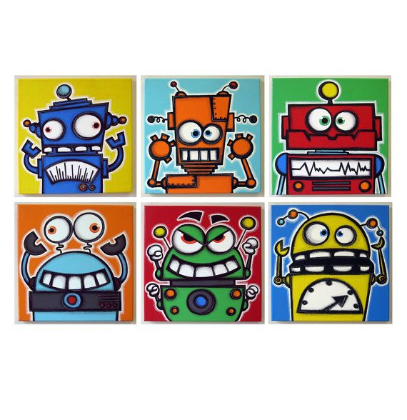 rObOts hAVE SiLLy tEETH (color) - set of 6 12x12 original acrylic paintings on canvas ready to hang