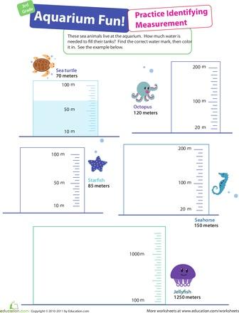 Worksheets: Measurement Mania #4: Aquarium Fun