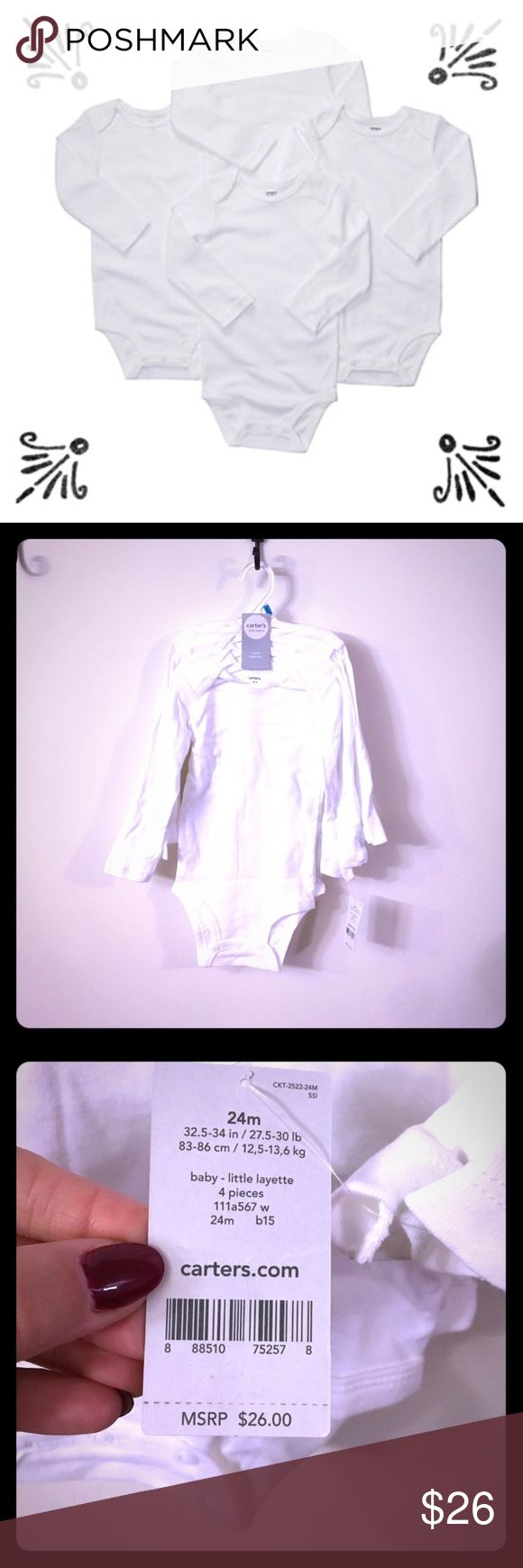"NWT Carter's 24M 4-pack long sleeved bodysuits 📦Same day shipping (excluding Sun/holidays or orders placed after P.O. Closed) ❤️Save on shipping: Add all of your ""likes"" to a bundle and submit an offer  Brand new with tags: 4 pack of white long sleeved Carter's bodysuits size 24M. Durable cotton: great for layering. Open neckline allows you to pull the bodysuit down your little one in case of an accident so you do not have to pull a mess over their head. My kiddo moved up to 2T before we…"