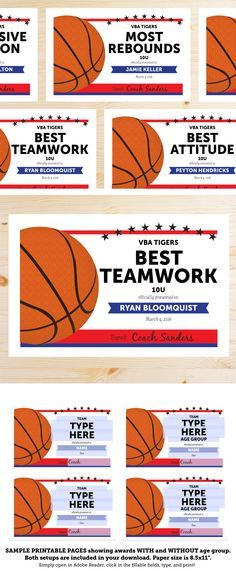 Great list of Basketball Award Categories and Editable Basketball Award Certificates at this link. She'll make them in your team colors.