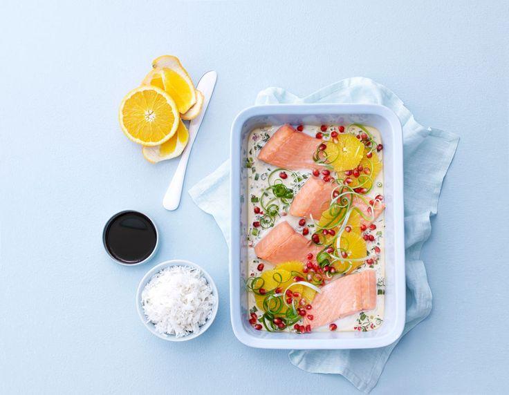 Få en smaksrik oppskrift på SALMA med saus av Creme Fraîche, sitrussaft og soyasaus.