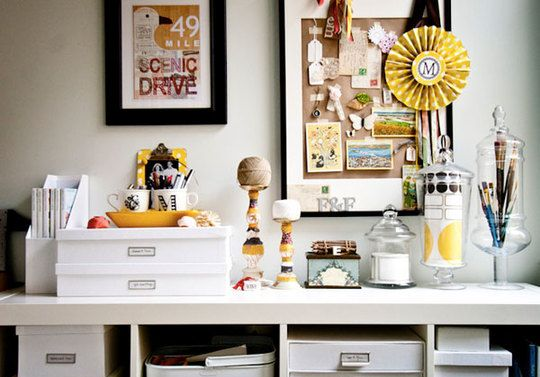 tips to keep organized: Organizations Tips, Idea, Crafts Rooms, Offices Spaces, Work Spaces, Offices Organizations, Organizations Offices, Apothecaries Jars, Home Offices