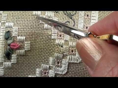05 Heart Etui - Hardanger - Cutting the Linen for Hardanger - YouTube