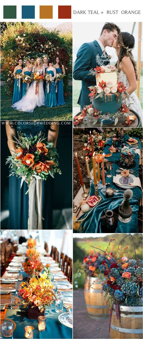 20 Dark Teal and Rust Orange Wedding Color Ideas for Fall | Fall wedding  color schemes, Orange wedding colors, Teal wedding colors