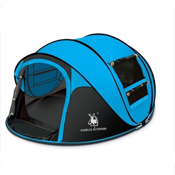 3-4 Person Contrast Color Fiberglass Outdoor Instant Pop-up Camping Tent