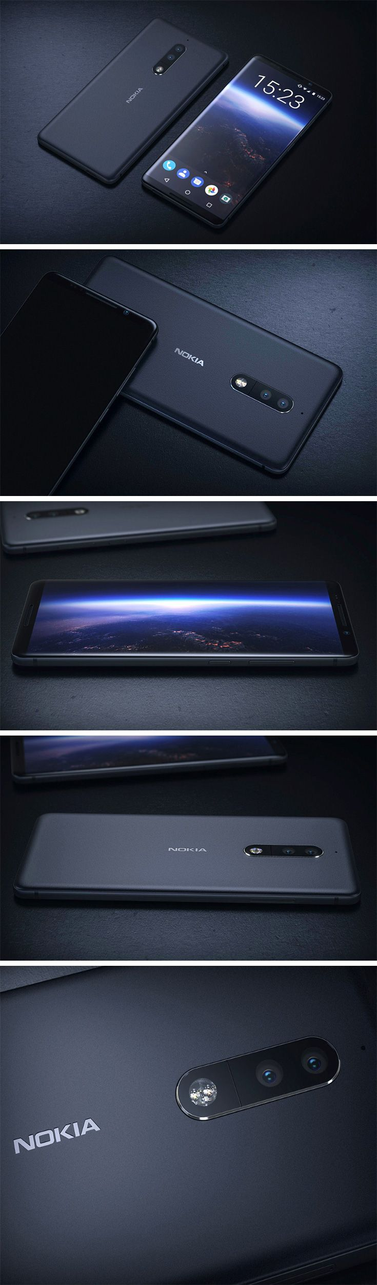 The Nokia Vision 2018 concept phone brings Nokia's Lumia aesthetic to modern times, with bezel-less screens, chrome accents, a dual back-facing camera, and Android-powered brain (85% of the world's favorite mobile OS). Even with its for-modern-times design, there's something still very Nokia about it. The tight radii on the phone's corners and glass with rounded edges.