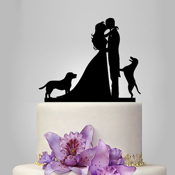 family wedding cake topper with 2 dogs, bride and groom silhouette, rustic cake topper, wedding silhouette, funny wedding cake decor,