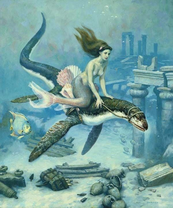Love this, a mermaid riding a prehistoric sea creature. Loch ness and the little mermaid, haha! Illustration by James Gurney