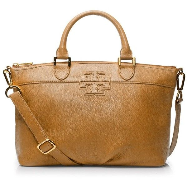 """Tory Burch Small Stacked """"T"""" Leather Satchel ($450) ❤ liked on Polyvore"""