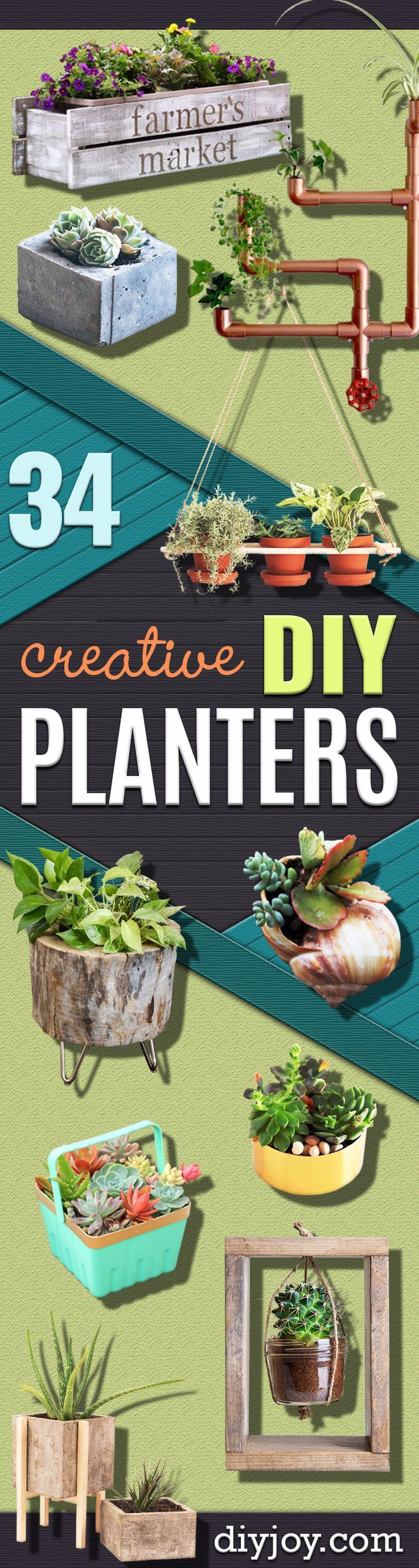 Creative DIY Planters -Best Do It Yourself Planters and Crafts You Can Make For Your Plants - Indoor and Outdoor Gardening Ideas - Cool Modern and Rustic Home and Room Decor for Planting With Step by Step Tutorials