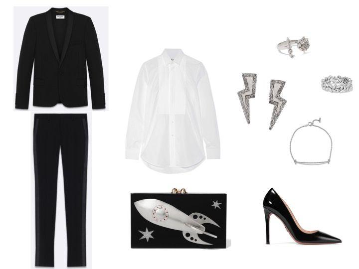 Women tuxedo and stilettos