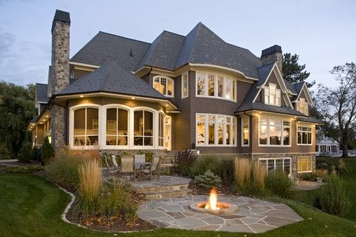Aaaammmmazing!!!!!!: Future Houses, Big Window, Idea, Dreams Home, Dreams Houses, Home Exterior, Outdoor Fire Pit, Backyard, Firepit