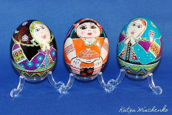 Three little Ukrainian ladies pysanky that I made. The middle one is holding traditional Ukrainian bread & salt.
