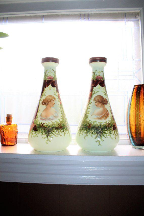 Large Victorian Portrait Vases Pair Hand Painted Milk Glass Etsy Victorian Portraits Victorian Vintage House