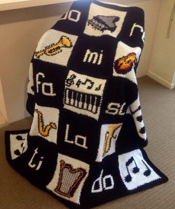 Musical Moments Crochet Handmade Blanket by WeAreFamilyHeath, $80.00