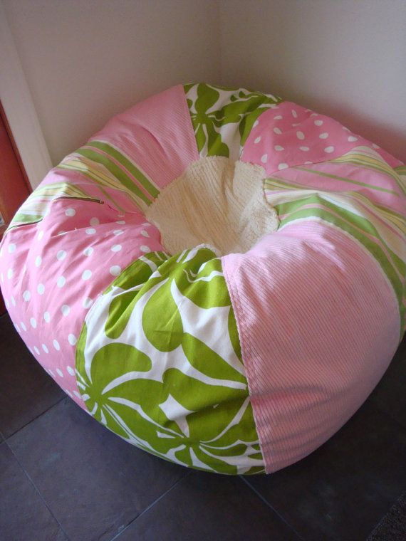 Pink And Green Girlu0027s Cottage Chic Bean Bag Chair