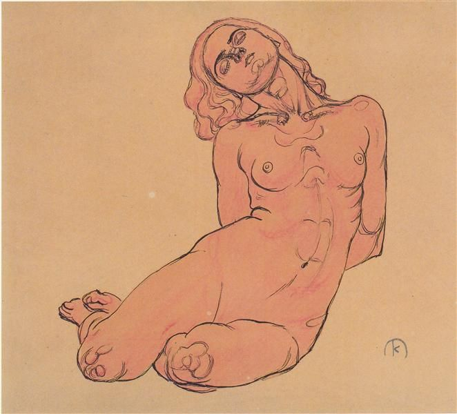 A crouching woman, 1914 by Koloman Moser. Art Nouveau (Modern). sketch and study