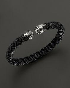 Scott Kay Men's Black Leather Cuff Bracelet