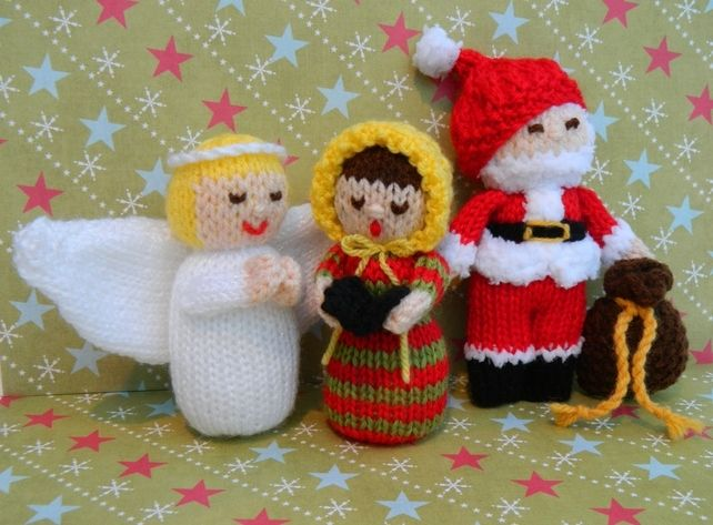 Toy Knitting Pattern - Angel, Father Christmas, Carol Singer Dolls - PSF E-mail £2.50 http://folksy.com/items/4802112-Toy-Knitting-Pattern-Angel-Father-Christmas-Carol-Singer-Dolls-PSF-E-mail