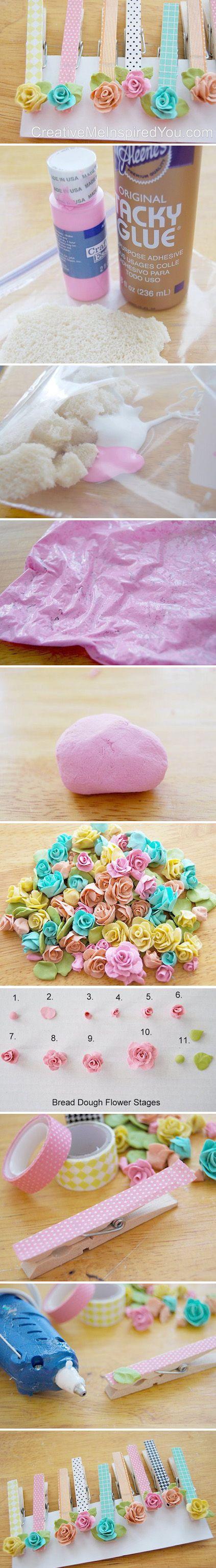 Flores realizadas con migajón de pan