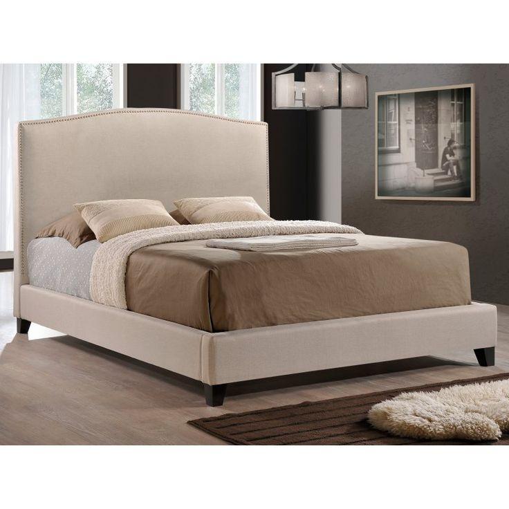 Baxton Studio Aisling Upholstered Platform Bed, Size: Queen - BBT6328-QUEEN-LIGHT BEIGE (B-55B)