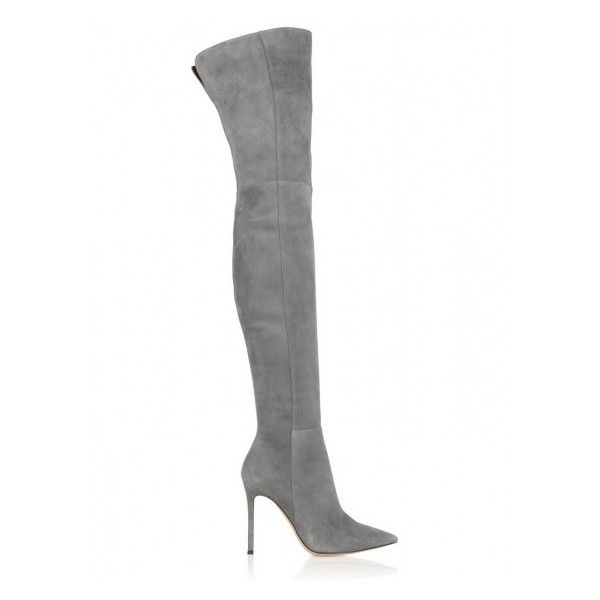 Gray Suedette Split Back Heeled Over the Knee Boots ($125) ❤ liked on Polyvore featuring shoes, boots, synthetic boots, grey boots, grey over the knee boots, thigh-high boots and above the knee boots