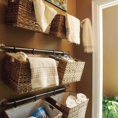 Containers on hooks for hair dryer, curling irons, brushes?