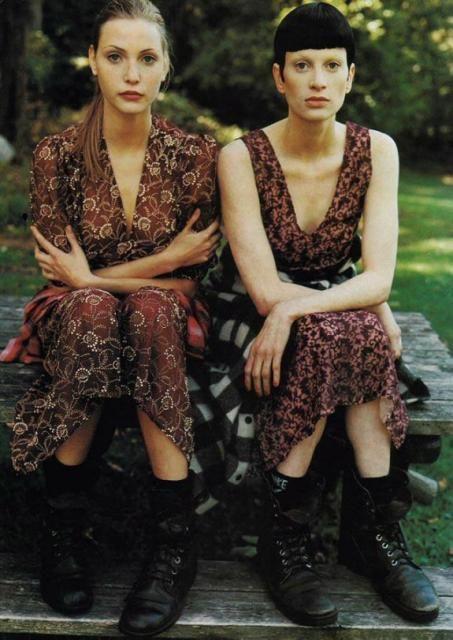 Nadja Auermann and Kristen McMenamy in floral grunge dresses.