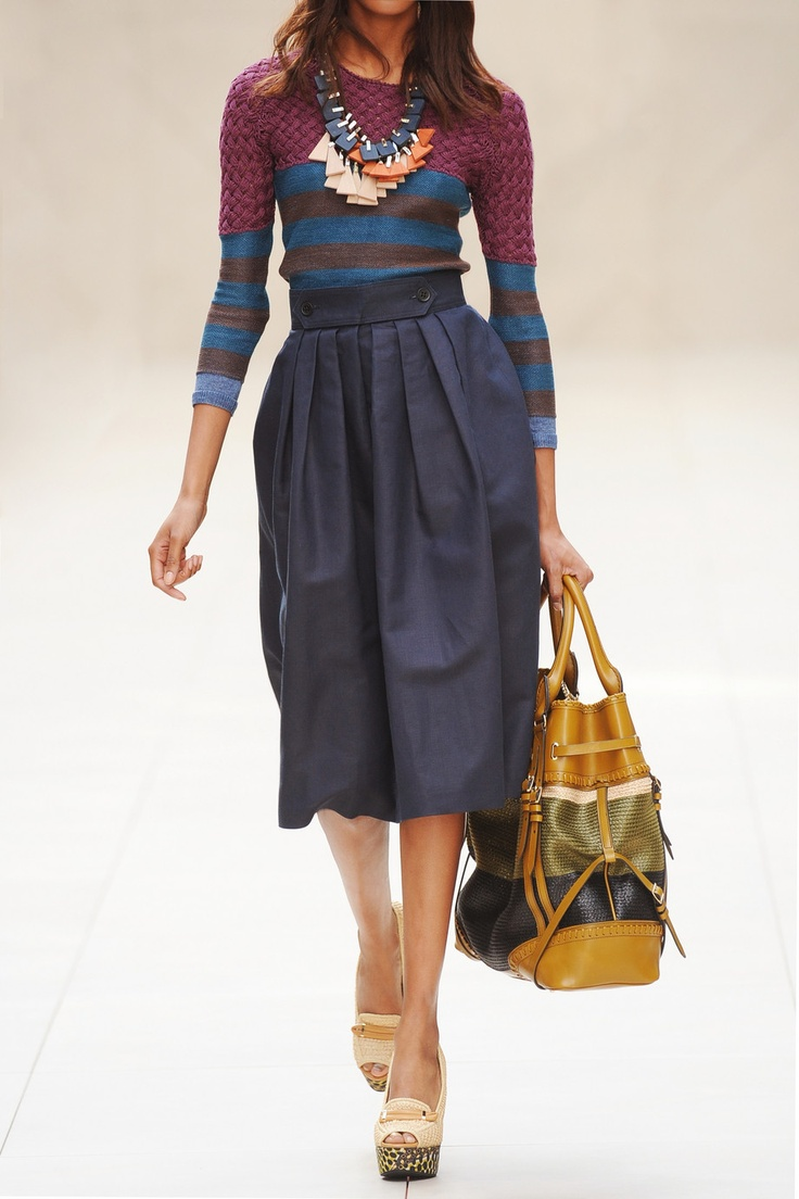 BURBERRY PRORSUM Pleated paper and ramie-blend skirt
