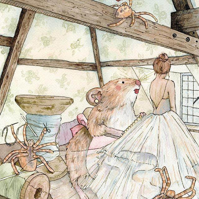 Thumbelina #thumbelina #story #childhood #illustration #watercolour #ink #weddingdress #dontmarrythemole