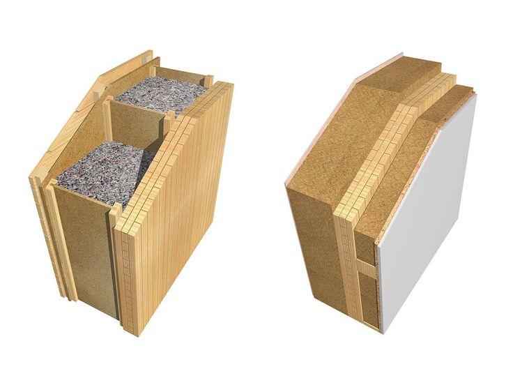 Holzmassiv Wand Wandaufbau des mhaus Systems