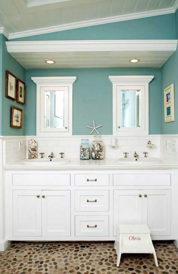 Beach Themed Bathroom Cool Pinterest Blue Wall