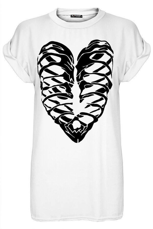 Womens Ladies Floral Butterfly Oversized Skull Turn Up Cap Sleeve Baggy T Shirt