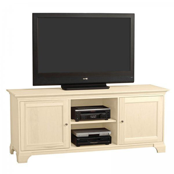 """Michael 70"""" Wide Flat Screen Solid Panel Door Television Console (Ivory) (28.75""""H x 70.25""""W x 21.75""""D)"""