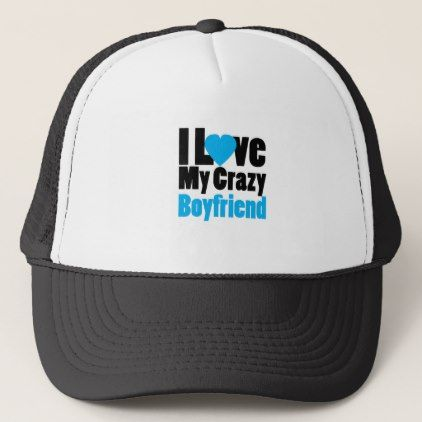 Couple matching I Love My Crazy Boyfriend Trucker Hat - valentines day gifts love couple diy personalize for her for him girlfriend boyfriend