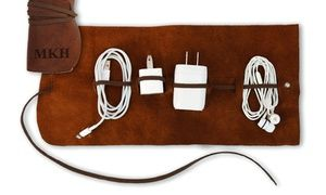 Personalized leather organizers can keep your cords, chargers, and other important electronics organized for travel or storage
