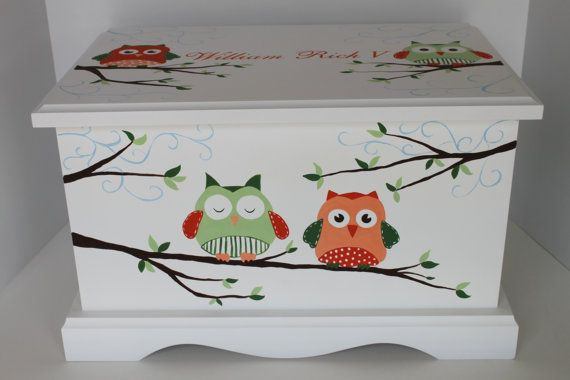 This 100% poplar wood keepsake chest is hand painted by artist, Stacie Dale, and may be personalized with your chids name and/or birthdate. Each chest