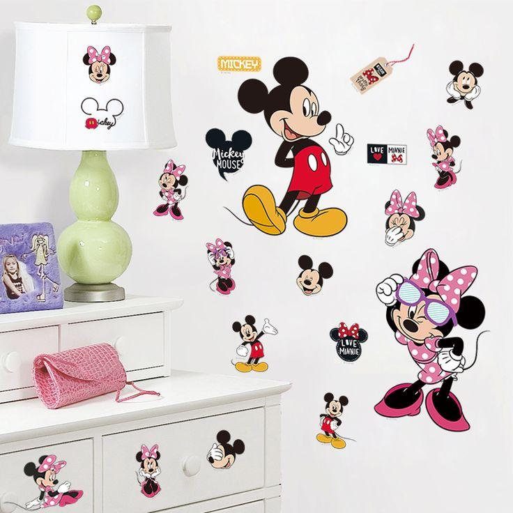 Микки маус и минни маус стикер стены для детей номеров детская комната детская комната украшения поделки настенные обои плакат