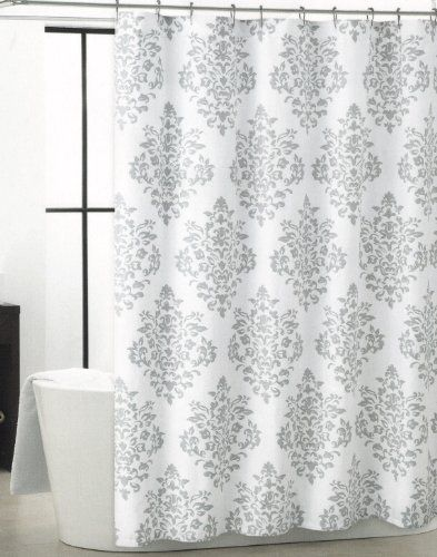 tahari luxurious grey white damask medallion fabric shower curtain tahari. Black Bedroom Furniture Sets. Home Design Ideas